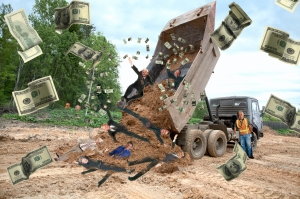 dump-body truck unloads a ground