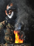 Unit drills with gas mask