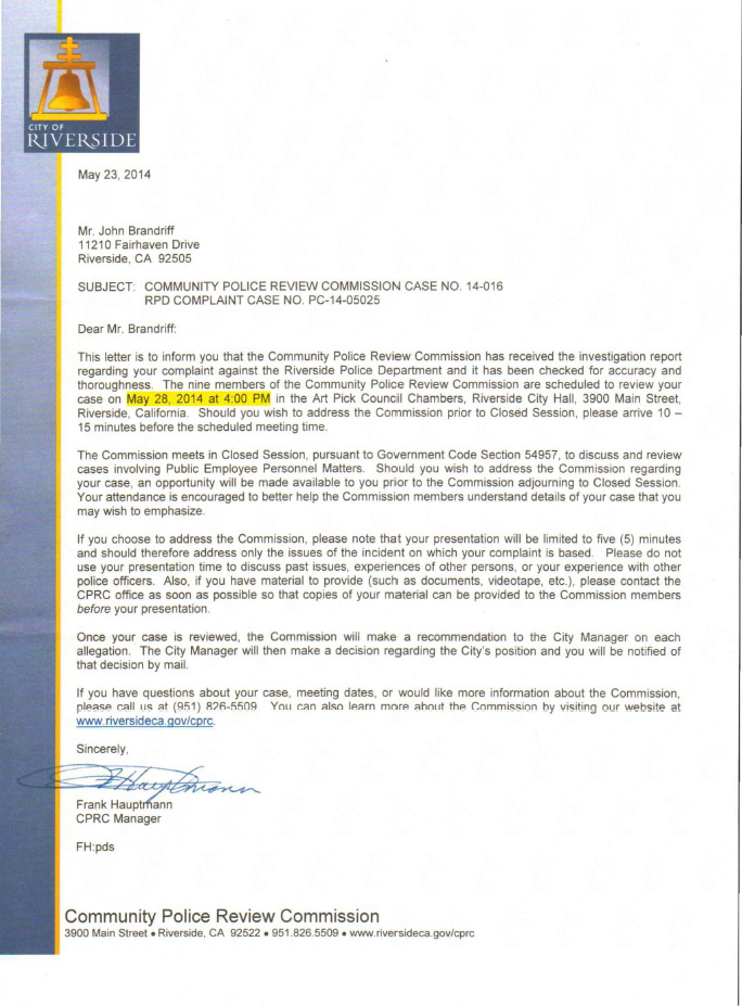 City of riverside brandriffs complaint against the chief of police cprcletter cprc letter thecheapjerseys Gallery